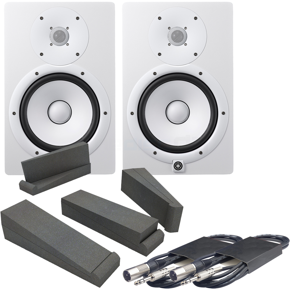 Yamaha HS8 White Active Studio Monitors, Isolation Pads & Leads Bundle