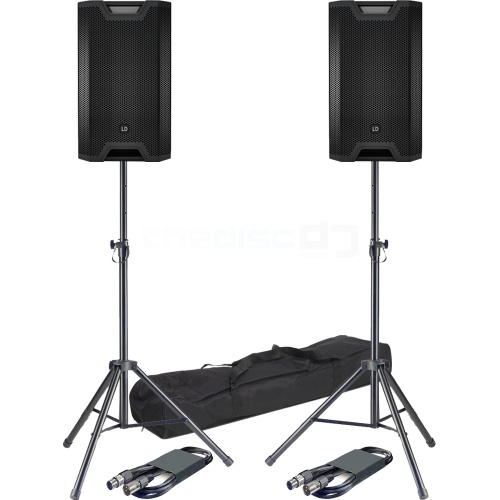 LD Systems ICOA 12A, Active PA Speakers (Pair) + Stands & Leads Bundle