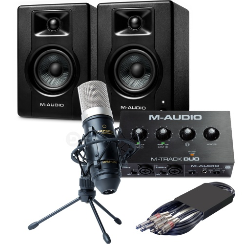 M-Audio BX3 Speakers (Pair) + M-Track Duo Interface & MPM-1000 Microphone
