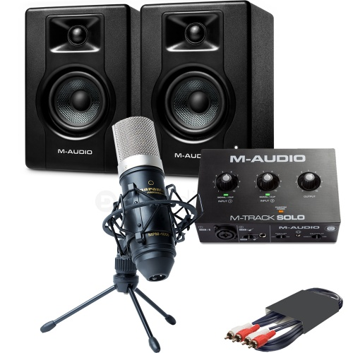 M-Audio BX3 Speakers (Pair) + M-Track Solo Interface & MPM-1000 Microphone