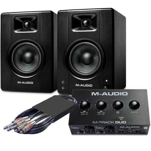 M-Audio BX4 Speakers (Pair) + M-Track Duo Interface Bundle Deal