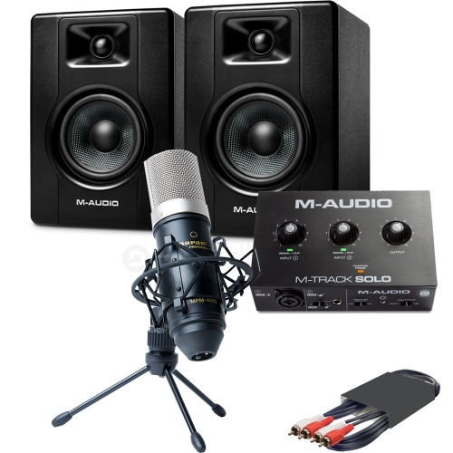 M-Audio BX4 Speakers (Pair) + M-Track Solo Interface & MPM-1000 Microphone
