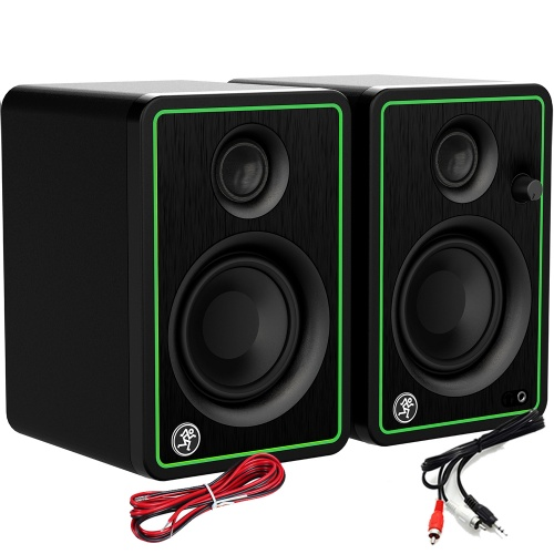 Mackie CR3X-BT Active DJ Speakers With Bluetooth + Cables Bundle