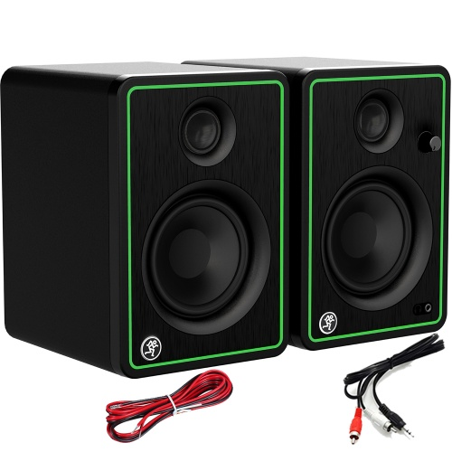 Mackie CR4X-BT Active DJ Speakers With Bluetooth + Cables Bundle