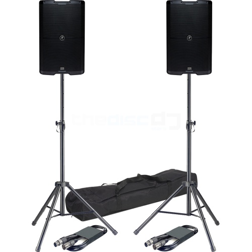 Mackie SRM212 V-Class, Bluetooth PA Speakers (Pair) + Stands & Leads
