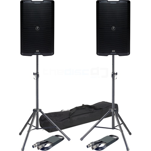 Mackie SRM215 V-Class, Bluetooth PA Speakers (Pair) + Stands & Leads