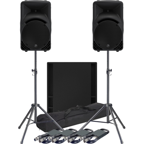 Mackie 2 x SRM450 Speakers, 1 x 18S Sub + Tripod Stands & Leads