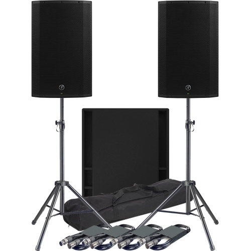 Mackie 2 x Thump 15A Speakers, 1 x 18S Sub + Tripod Stands & Leads