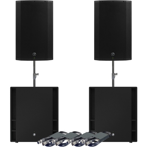 Mackie 2 x Thump 15A Speakers, 2 x 18S Subs + Poles & Leads