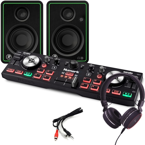 Numark DJ2GO2 Touch, Mackie CR3X Speakers & Headphones Package