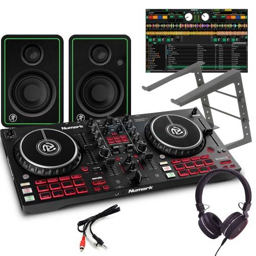 Numark Mixtrack Pro FX, Mackie CR3X, Laptop Stand + Headphones Bundle