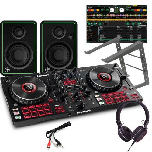 Numark Mixtrack Platinum FX, CR3X Speakers, Laptop Stand & Headphones