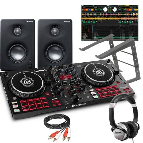 Numark Mixtrack Pro FX, M1-330 Speakers, Laptop Stand & Numark HF125