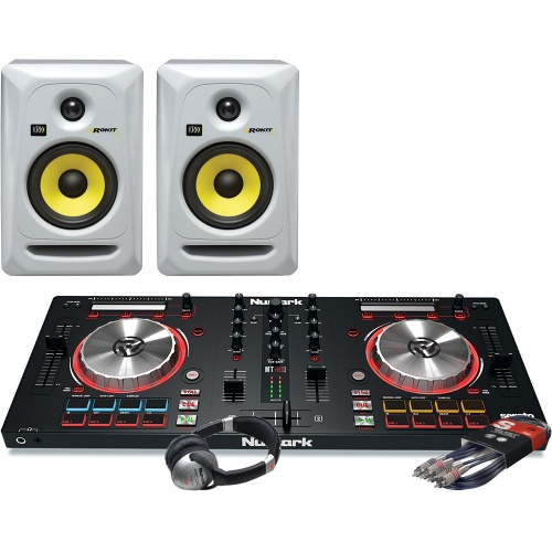 Numark Mixtrack Pro MK3, KRK Rokit RP5 White, Headphone Package Deal