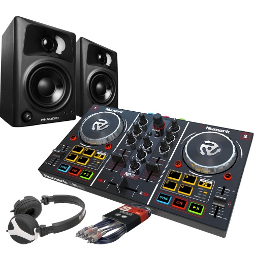 Numark Party Mix DJ Controller, M-Audio AV32 Speakers, Headphone Bundle