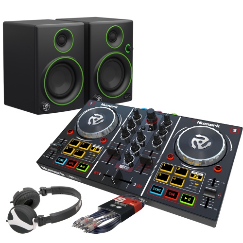 Numark Party Mix DJ Controller, Mackie CR3 Speakers, Headphone Bundle