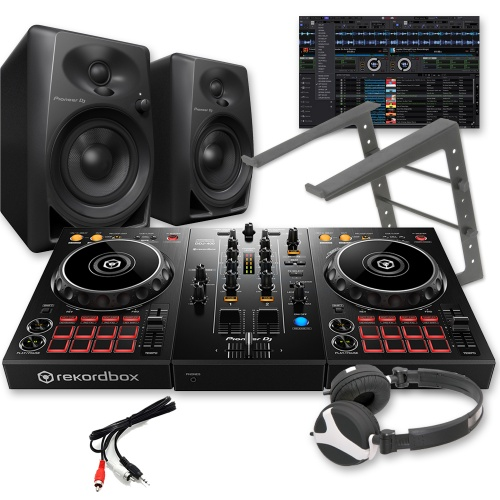 Pioneer DDJ-400 Controller, DM-40 Speakers, Laptop Stand & Headphones