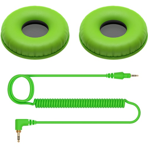 Pioneer HC-CP08-G Replacement Cable & Earpads for HDJ-CUE1 (Green)
