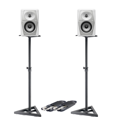 Pioneer DJ VM-50 White (Pair) + Stands & Cables Bundle Deal