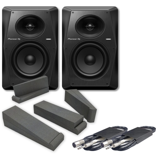 Pioneer DJ VM-70 (Pair) + Isolation Pads & Cables Bundle Deal