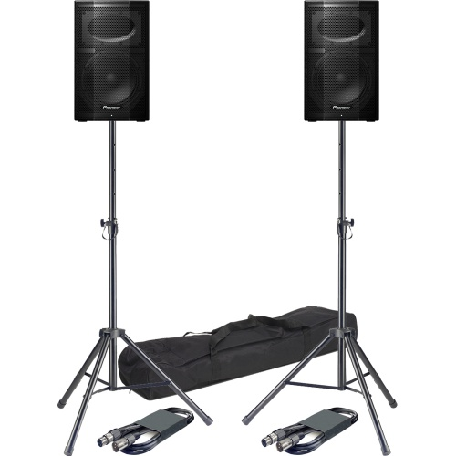 ​Pioneer XPRS10 Active PA Speakers + Tripod Stands & Leads Bundle Deal