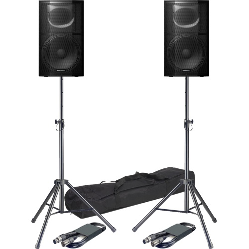 ​Pioneer XPRS15 Active PA Speakers + Tripod Stands & Leads Bundle Deal