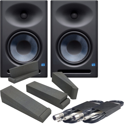 Presonus Eris E8XT Active Studio Monitors + Pads & Leads Bundle Deal