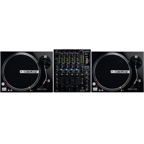 Reloop RP2000M DJ Turntables (Pair) + RMX60 Digital Mixer Bundle