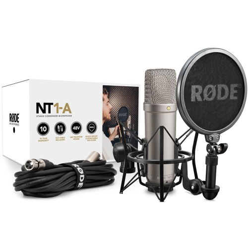 Rode NT1-A Studio Condenser Microphone + Cradle & Pop Shield