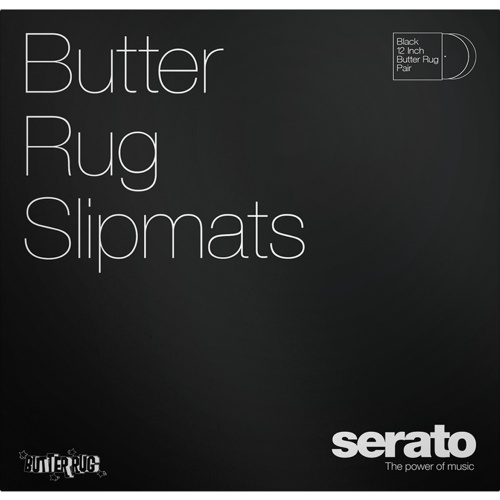 Serato Official Butter Rugs Slipmats, Black, 12'' (Pair)
