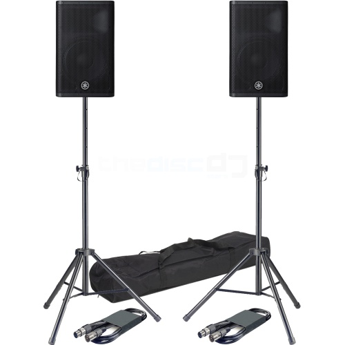Yamaha DXR12 MK2 Active PA Speakers + Tripod Stands & Leads Bundle