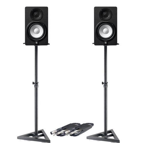 Yamaha HS5 Black Active Studio Monitors + Stands & Leads