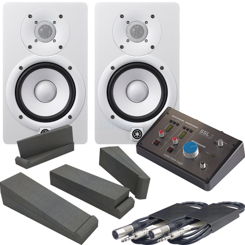 Yamaha HS5 White (Pair) + SSL 2 Audio Interface, Pads & Leads Bundle