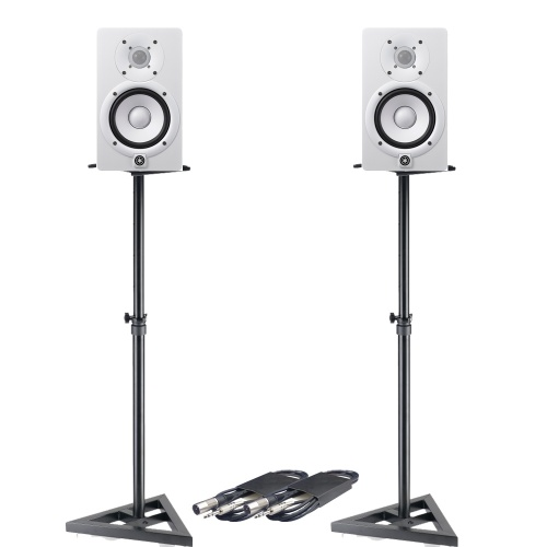 Yamaha HS5 White Active Studio Monitors + Stands & Leads
