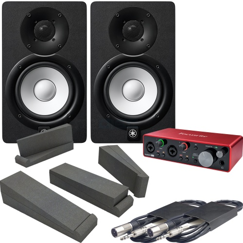 Yamaha HS7 Black (Pair) + Scarlett 2i2 G3 Interface, Pads & Leads