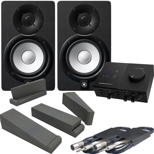 Yamaha HS7 Black (Pair) + NI Komplete Audio 2 Interface, Pads & Leads