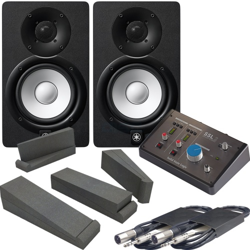 Yamaha HS7 Black (Pair) + SSL 2 Audio Interface, Pads & Leads Bundle