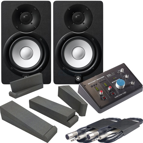 Yamaha HS7 Black (Pair) + SSL 2+ Audio Interface, Pads & Leads Bundle