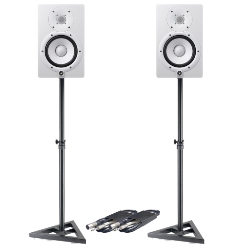 Yamaha HS7 White Active Studio Monitors + Stands & Leads