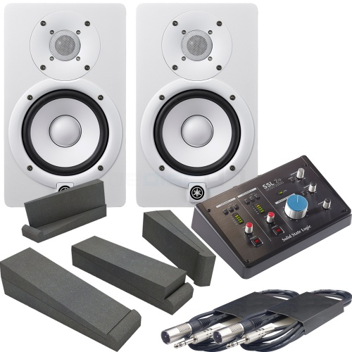 Yamaha HS7 White (Pair) + SSL 2+ Audio Interface, Pads & Leads Bundle