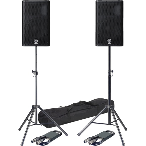 Yamaha DXR12 700 Watt RMS Active PA Speakers + Tripod Stands & Leads