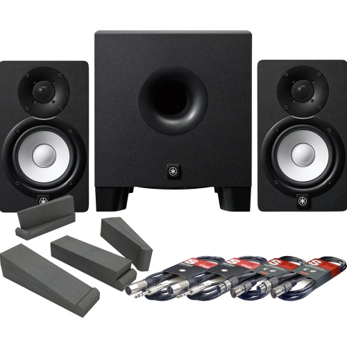 Yamaha HS5 Studio Monitors + HS8S Sub + Isolation Pads + Leads Bundle