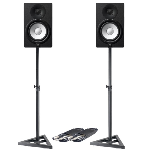 Yamaha HS7 Black Active Studio Monitors + Stands & Leads