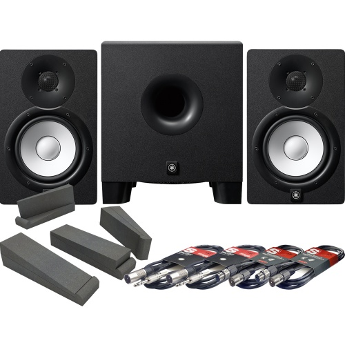 Yamaha HS7 Studio Monitors + HS8S Sub + Isolation Pads + Leads Bundle