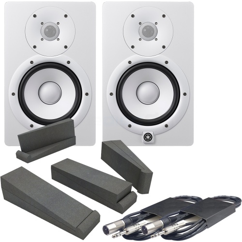 Yamaha HS7 White Active Studio Monitors, Isolation Pads & Leads Bundle