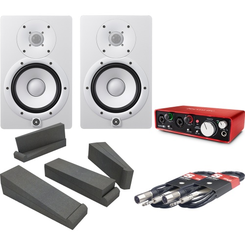 Yamaha HS7 White, Scarlett 2i2 (2nd Gen), Iso Pads & Cables Bundle